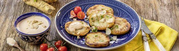 Sellerieschnitzel mit Cashew-Dip