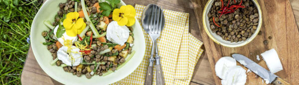 Sommersalat mit Linsen und Ziegenfrischkäse